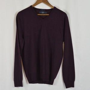 Men's J Crew V-Neck Slim Fit Merino Wool Sweater